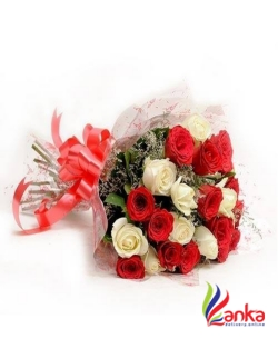 Happy Birthday Red And White Roses