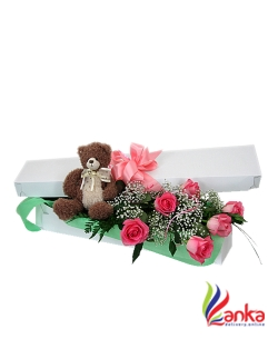 Happy Birthday Teddy Bare With Roses Flowers