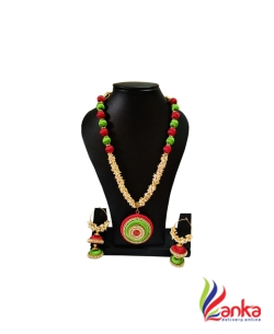 Red With Parrot Green Loreal Silk Set Jewellery