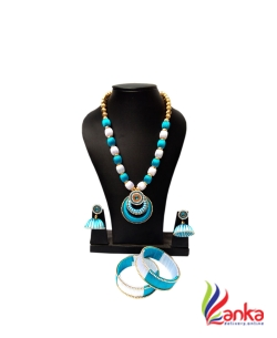 White With Sky Blue Oval Beads Double Ring Pendent Silk Set Jewellery