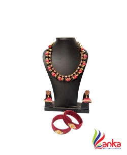 Maroon With Black Cap Ball Silk Set Jewellery
