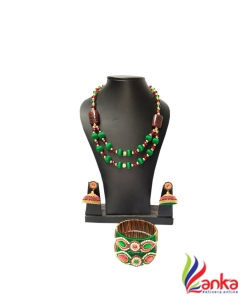 Maroon With Green Crystal Beads Silk Set Jewellery