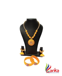 Golden Yellow With Rani Pink Silk Set Jewellery