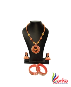 Orange Double Ring Silk Set Jewellery