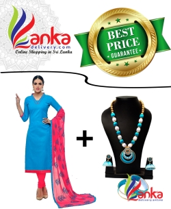 Relish Cotton Salwar & White with Sky Blue Oval Double Ring Pendent Silk Set