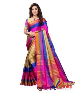 d5c5bc10e Saara Striped Fashion Poly Silk Saree (Beige