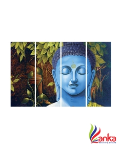 SAF BUDDHA PREMIUM LARGE 4 PANEL PAINTING Ink Painting  (24 inch x 36 inch)2