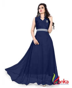 19 Likes Straight Gown  (Blue)