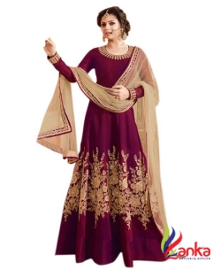 Active Art Silk Embroidered Semi-stitched Salwar Suit Dupatta Material