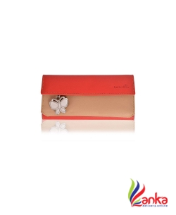Butterflies Casual Beige, Red Clutch