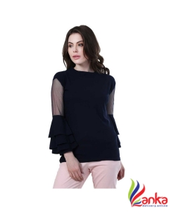 Buy New Trend Casual Full Sleeve Solid Womens Dark Blue Top