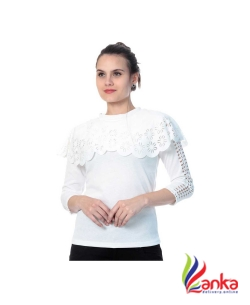 Buy New Trend Casual Cutout Sleeve Stylised Womens White Top