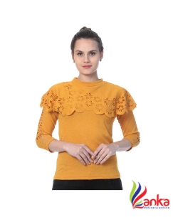 Buy New Trend Casual Cutout Sleeve Solid Womens Yellow Top