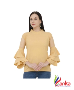 Buy New Trend Casual Bell Sleeve, Ruffled Sleeve Solid Womens Yellow Top