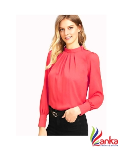Alfa Fashion Party Puff Sleeve Solid Womens Pink Top