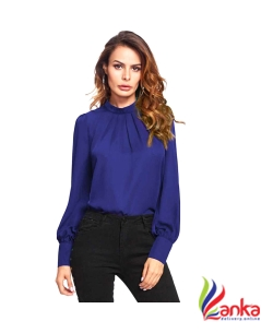 Alfa Fashion Party Puff Sleeve Solid Womens Blue Top
