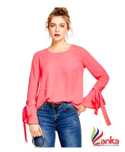 Alfa Fashion Party Flared Sleeve Self Design Womens Red Top