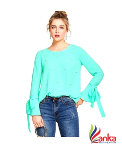 Alfa Fashion Party Flared Sleeve Self Design Womens Light Green Top