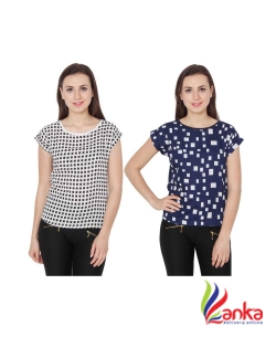 2 Day Casual Cap Sleeve Printed Womens Multicolor Top