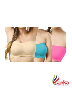 Chilee Life Womens Tube Non Padded Bra  (Beige, Blue, Pink)