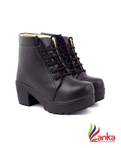 Beonza High Ankle Boots For Women  (Black)