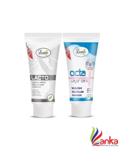 Luster Lacto Dark Spot Remover Cream & Octa Wash Scrub Mask - Instant Facial (Set of 2)