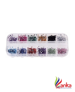 Born Pretty 1.5mm Rhinestones Nail Decoration Round Colorful Glitters With Hard Case DIY Nail Art Decorations  (Multi Color)