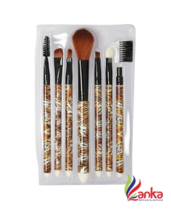 Looks United 7 Pcs High Quality Makeup Brush Set Brown  (Pack of 7)