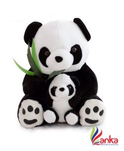ToynJoy Plush Cute Sitting Mother & Baby Panda Stuffed Toy as Special Birthday Gift - 45 cm  (Black, White)