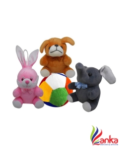 Natali Traders Stuffed Soft Toy Combo Of 4 Puppy, Elephant, Rabbit And Ball - 15 cm  (Pink, Brown, Grey)
