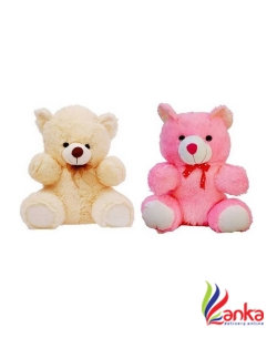 KHATU SHYAM ENTERPRISES 2 Feet Combo of Cute Lovable Stuffed Spongy Hugable Sitting Teddy Bear 60 cm  (Cream, Pink)