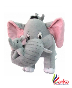 AK SCIENTIFIC Mother Elephant With 2 Babies Soft Toy 38 cm  (Grey)