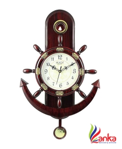 A&A Plaza Pendulum Wall Clock Analog 36 cm X 32 cm Wall Clock  (Brown, With Glass)