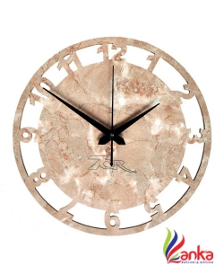 7CR Analog 30.5 cm X 30 cm Wall Clock  (Beige, Without Glass)