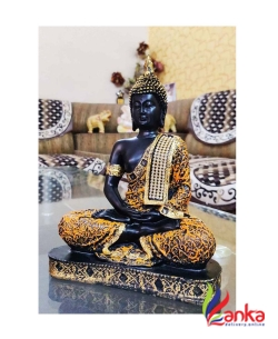Craft Junction Beautiful Black Golden Meditating Lord Buddha Decorative Showpiece - 25 cm  (Polyresin, Multicolor)