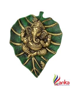Bgroovy Green Patta Ganesh Wall Hanging Decorative Showpiece - 20 cm  (Aluminium, Dark Green, Multicolor, Gold)