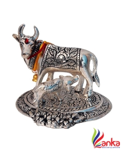 AMV Deals kaamdhenu cow and calf - aluminium Idol - murti for home - mandir  Decorative Showpiece - 15 cm  (Aluminium, Silver)
