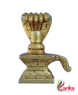 Aakrati Brass Made Shivlinga For Worship Decorative Showpiece - 7 cm  (Brass, Yellow)