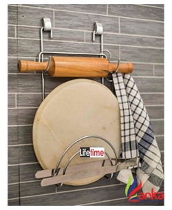 Lifetime Chakla Belan & Chimta Stand with Tong Holder Stainless Steel Wall Shelf  (Number of Shelves - 2, Steel)