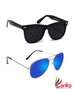 Epic Ink Wayfarer, Aviator Sunglasses (Free Size)  (Black, Blue)