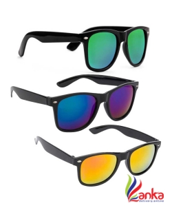 Elligator Mirrored Wayfarer Sunglasses (Free Size)  (Green, Yellow, Blue)