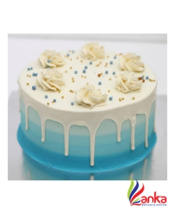 Ombre Blue Cake With White Ganache Drip