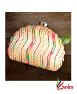 Machine Embroidery Clutches Peach