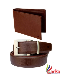 DFashion Men Brown Artificial Leather Belt with purse