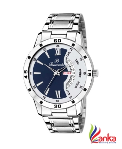 Buccachi B-GR5046-BWH-CH White & Blue Dial Day & Date Functioning Water Resistant Stainless Steel Bracelet Watch For Men