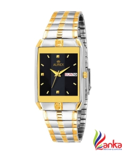 AUREX Original Black Dial Working Day & Date Display Gold Plated Water Resistant Metal Bracelet Luxury Watch