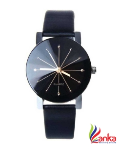 Ariks Pyramid Crystal Glass Black Dial Black Leather Analog Analog Watch - For Men