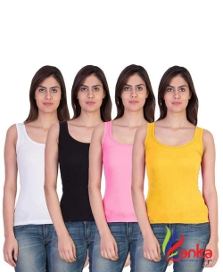 Nityakshi Women White, Black, Pink, Yellow Tank TopVest