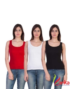 Nityakshi Women Red, White, Black Tank TopVest