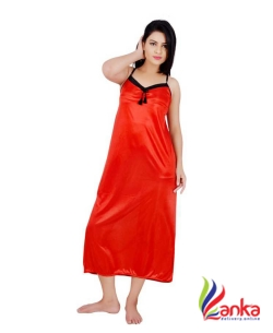 Kanika Women Nighty with Robe  (Black, Orange)